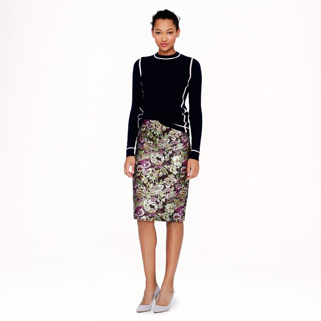 Collection No. 2 pencil skirt in metallic floral