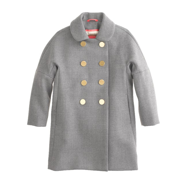 Girls' double-breasted wool coat