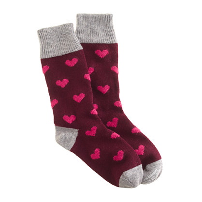 Corgi™ for J.Crew cashmere bordeaux heart socks