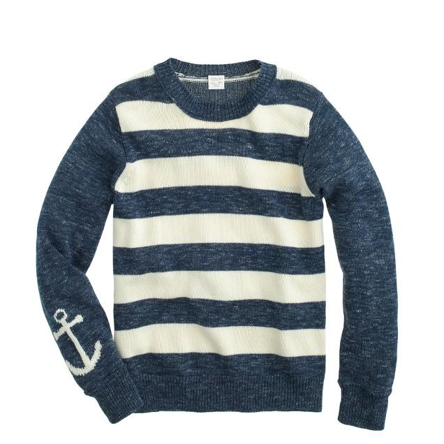 Boys' anchor-sleeve stripe sweater