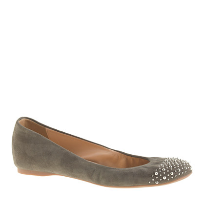 Cece suede studded-toe ballet flats