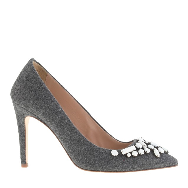Collection Falsetto flannel jeweled pumps