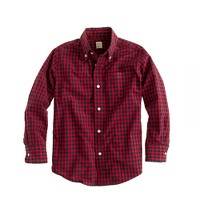 Boys' Secret Wash shirt in flame gingham