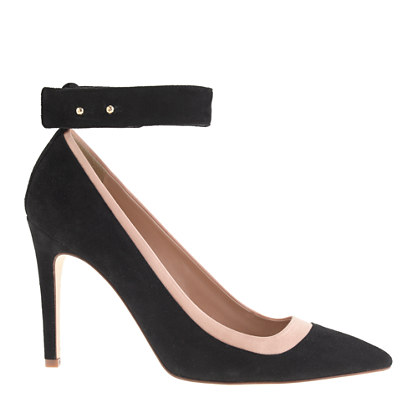 Suede and satin ankle-cuff pumps
