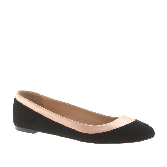 Suede and satin ballet flats
