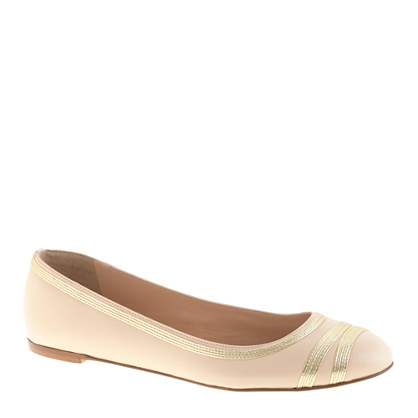 Metallic-trim ballet flats