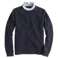Ruffle-collar sweatshirt in navy