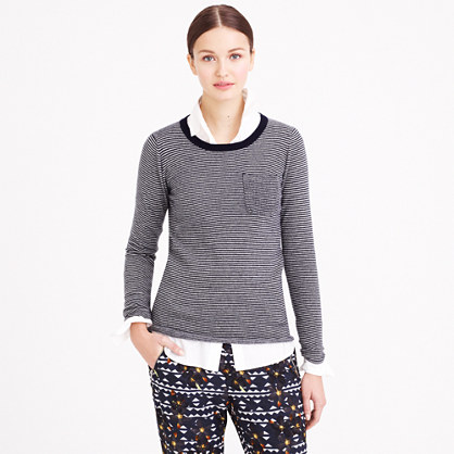 Collection cashmere long-sleeve T-shirt in thin stripe