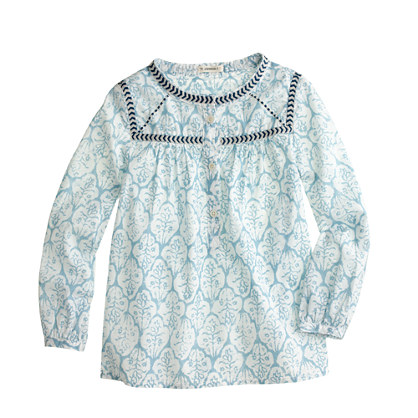 Girls' embroidered peasant top in block print
