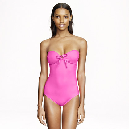 Neon tie-front bandeau one-piece swimsuit