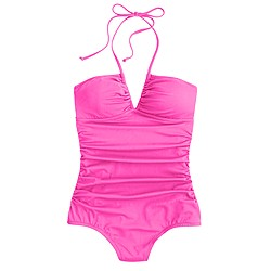 Neon ruched halter one-piece swimsuit