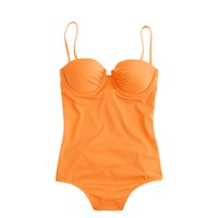Neon ruched underwire one-piece swimsuit