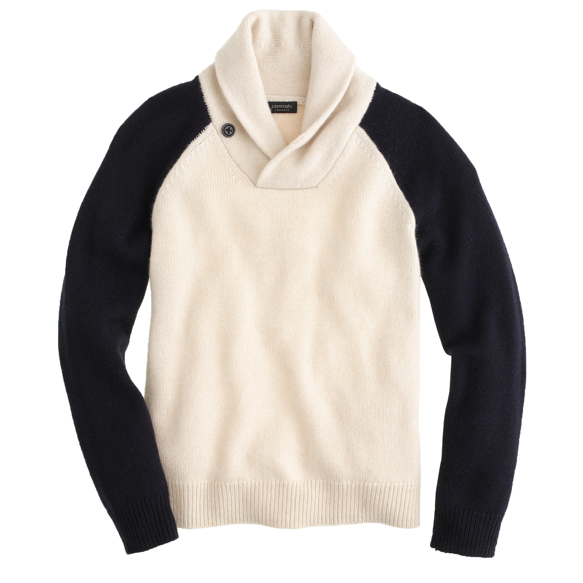 Boys' cashmere contrast-sleeve shawl-collar sweater :