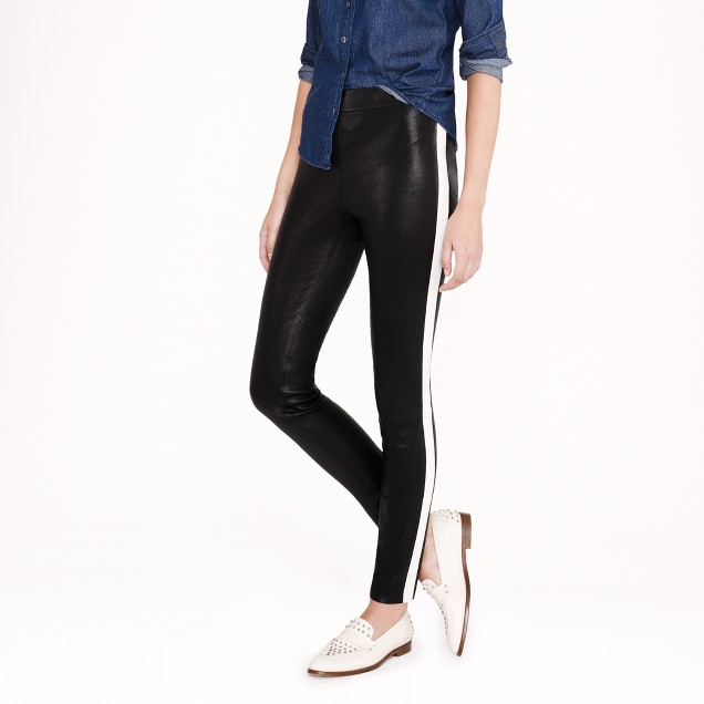 Collection leather leggings in tuxedo stripe