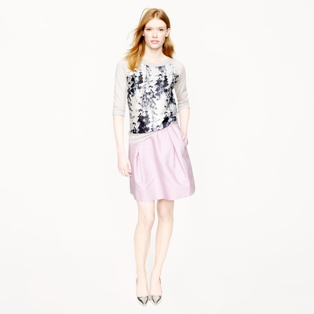 Collection box-pleated skirt in circle jacquard