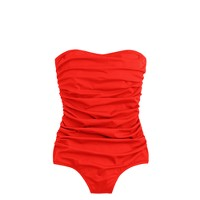 Ruched bandeau one-piece swimsuit