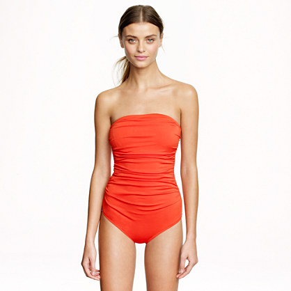 Long torso ruched bandeau one-piece swimsuit