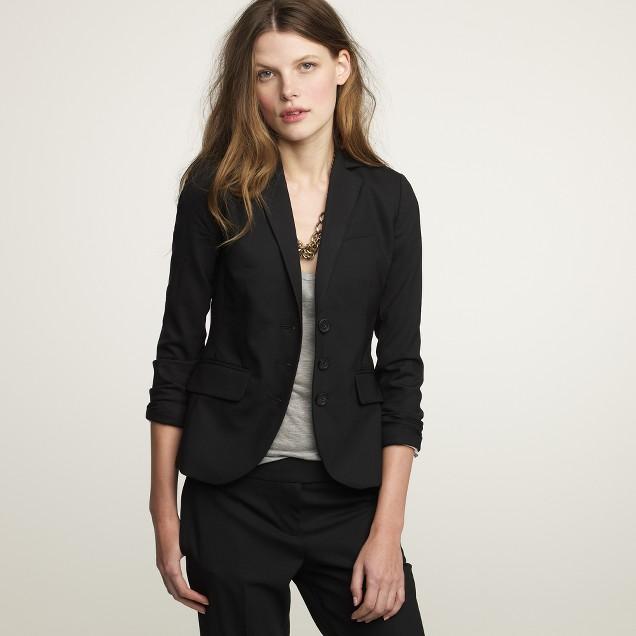 Stretch wool three-button jacket