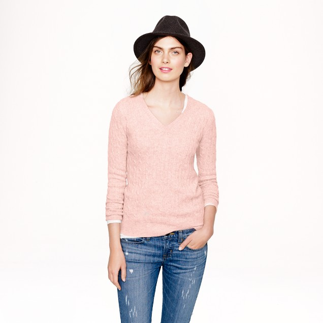 Cambridge cable V-neck sweater