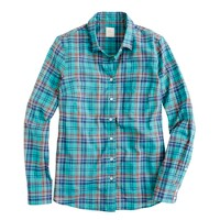 Boy shirt in turquoise plaid
