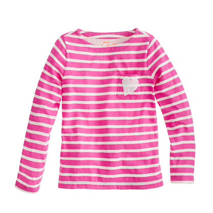 Girls' long-sleeve sequin-heart pocket tee in stripe