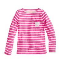Girls' long-sleeve sequin-heart pocket tee in stripe