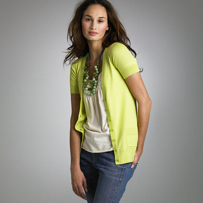 V-neck short-sleeve cardigan