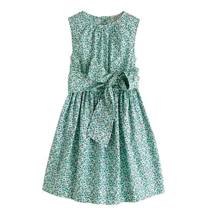 Girls' organdy bow dress in scattered floral