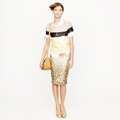 Collection cheetah brocade pencil skirt
