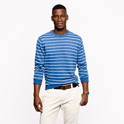 Cotton crewneck sweater in cerulean stripe
