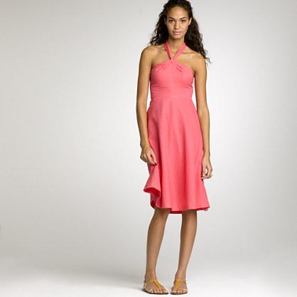 Embossed-cotton Aubrey halter dress
