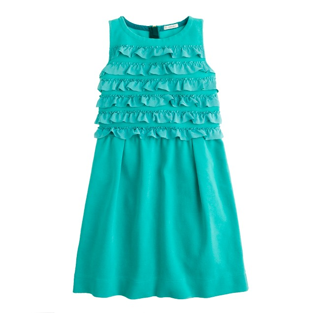Girls' ribbon ruffle dress