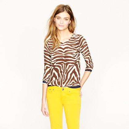 Scoopneck silk top in zebra