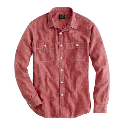 Slim red selvedge chambray utility shirt