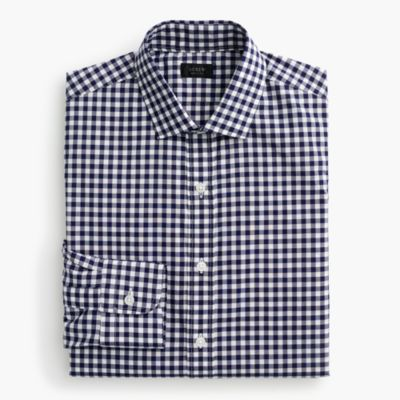 Ludlow spread-collar shirt in navy gingham