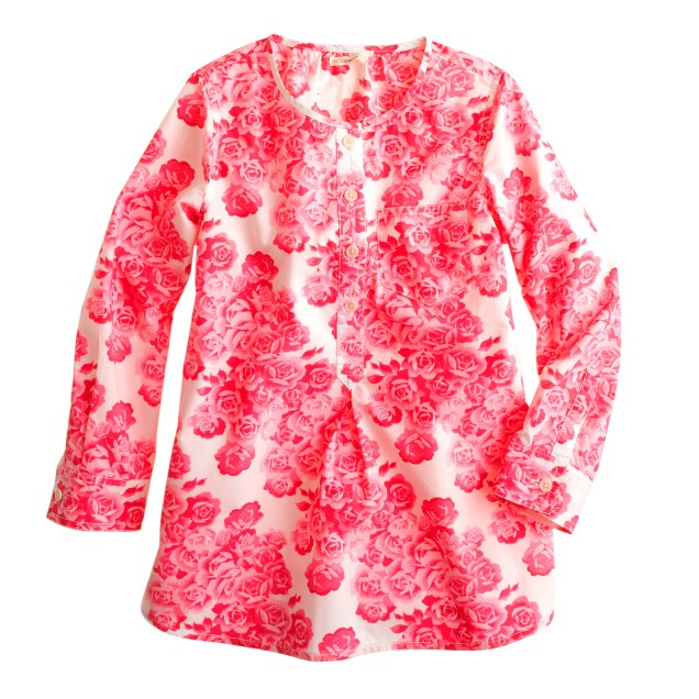 Girls' neon roses tunic