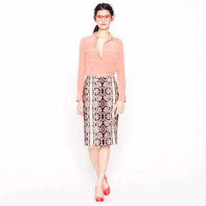 Petite No. 2 pencil skirt in snake print
