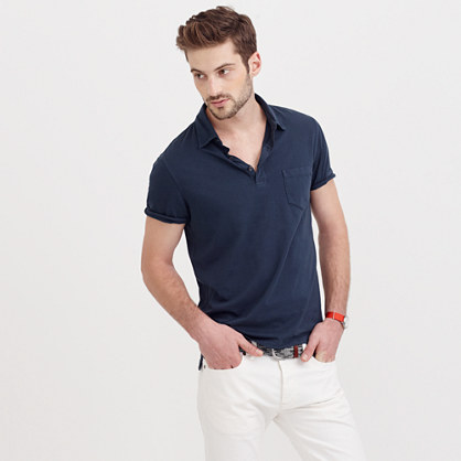 Broken-in pocket polo shirt