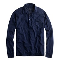 Tall broken-in long-sleeve pocket polo shirt