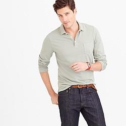 Broken-in long-sleeve pocket polo shirt