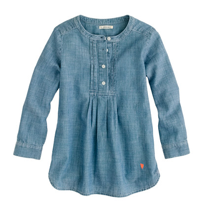 Girls' pleated bib tunic in chambray