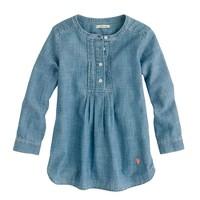 Girls' pleated bib tunic in chambray