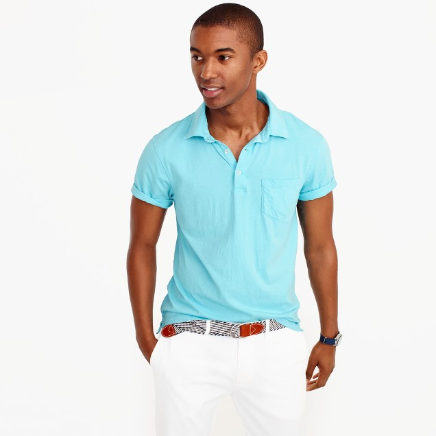 Slim broken-in pocket polo shirt