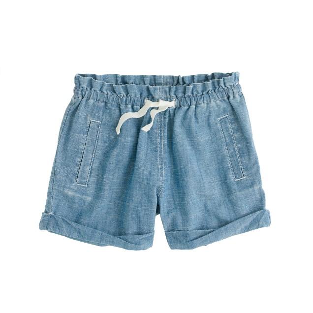 Girls' drawstring chambray short