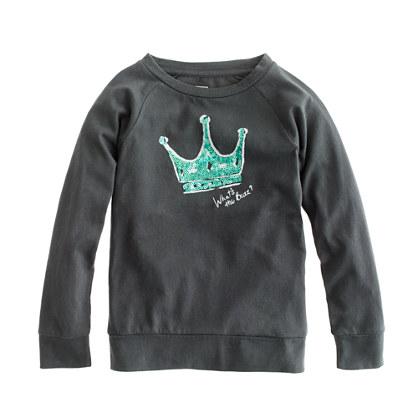 Girls' long-sleeve sequin crown tee