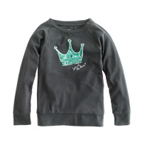 Girls' long-sleeve sequin crown tee