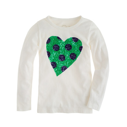 Girls' long-sleeve spotted sequin heart tee