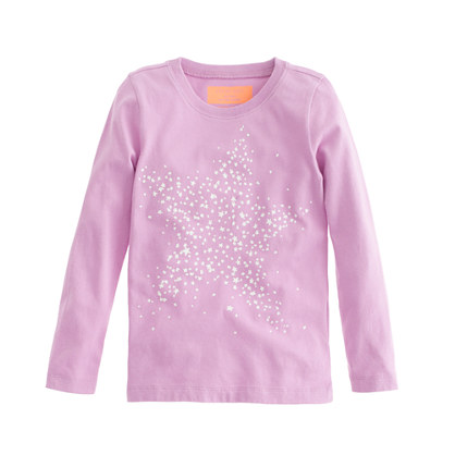 Girls' glow-in-the-dark Long-sleeve star tee
