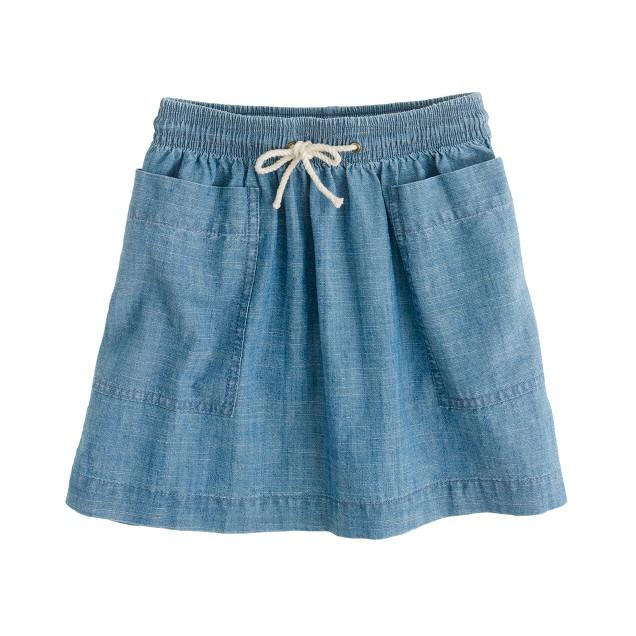 Girls' chambray pocket skirt