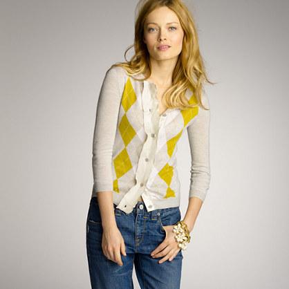 Featherweight cashmere argyle cardigan